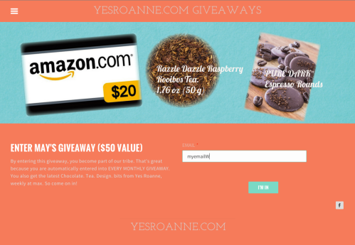 New giveaway site design