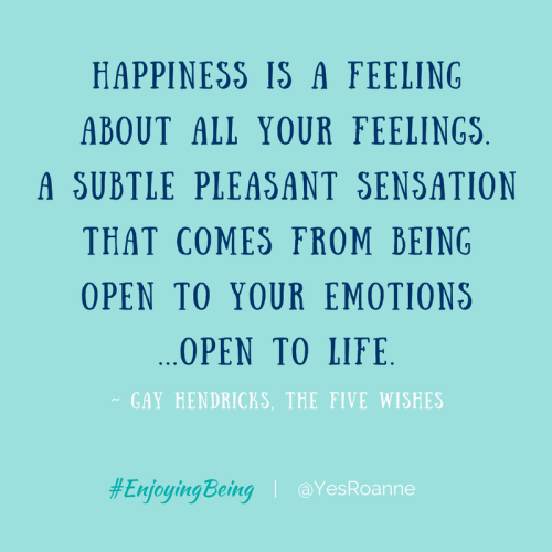 Happiness is a feeling about your feelings...being...open to life.